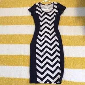 Long blue striped dress